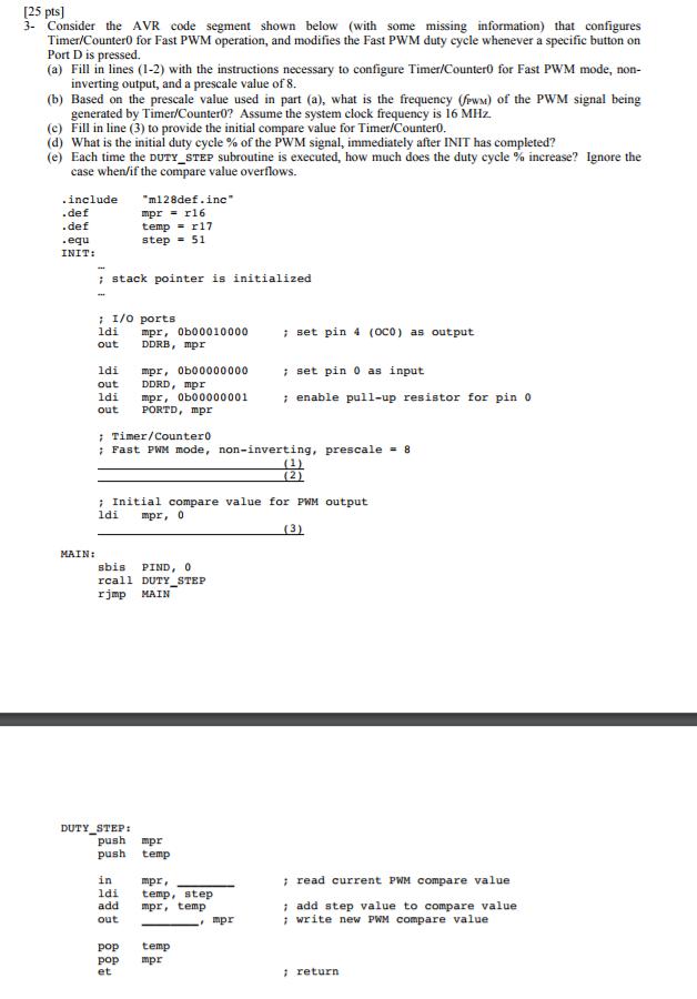 25 Pts] 3- Consider The AVR Code Segment Shown Bel    | Chegg com