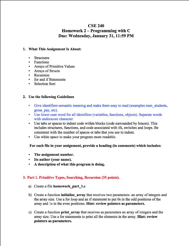 Solved: CSE 240 Homework 2 - Programming With C Due: Wedne ...