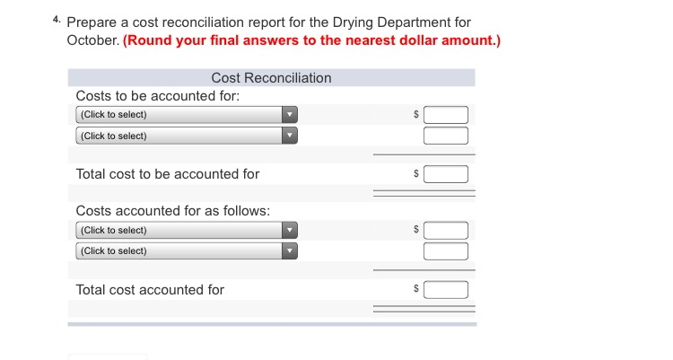 solved 4 prepare a cost reconciliation report for the dr