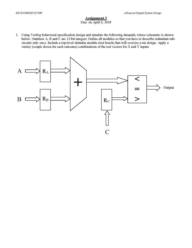 Solved Eece4500eece5500 Advanced Digital System Design As Chegg Com