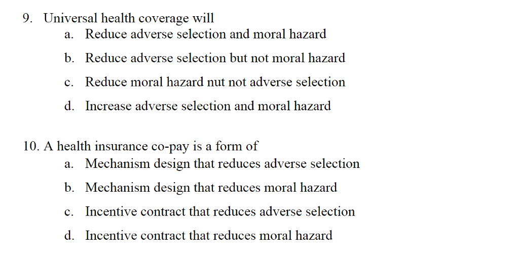 co pay and moral health Supplemental health insurance and healthcare consumption: a dynamic approach to moral hazard  supplemental health insurance, moral hazard, health care expenditures, longitudinal analysis 1 cermes3, cnrs umr 8211, inserm u988, ehess  and crepon, 2007), whereas others suggest observing the exogenous change in copay-ments in healthcare.