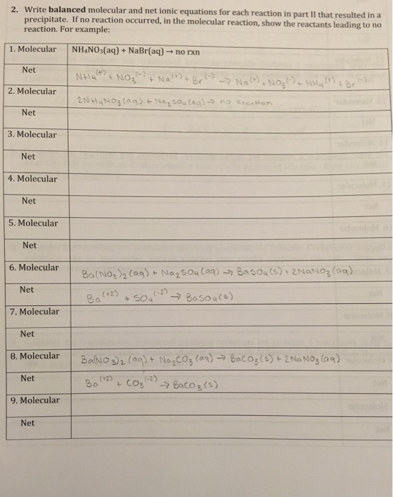 Solved: Write Balanced Molecular And Net Ionic Equations F