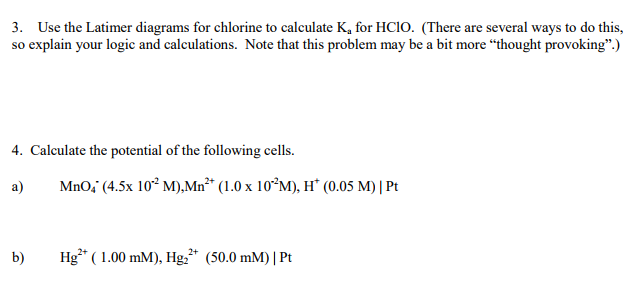 3 use the latimer diagrams for chlorine to calcul chegg use the latimer diagrams for chlorine to calculate k for hcio ccuart Image collections