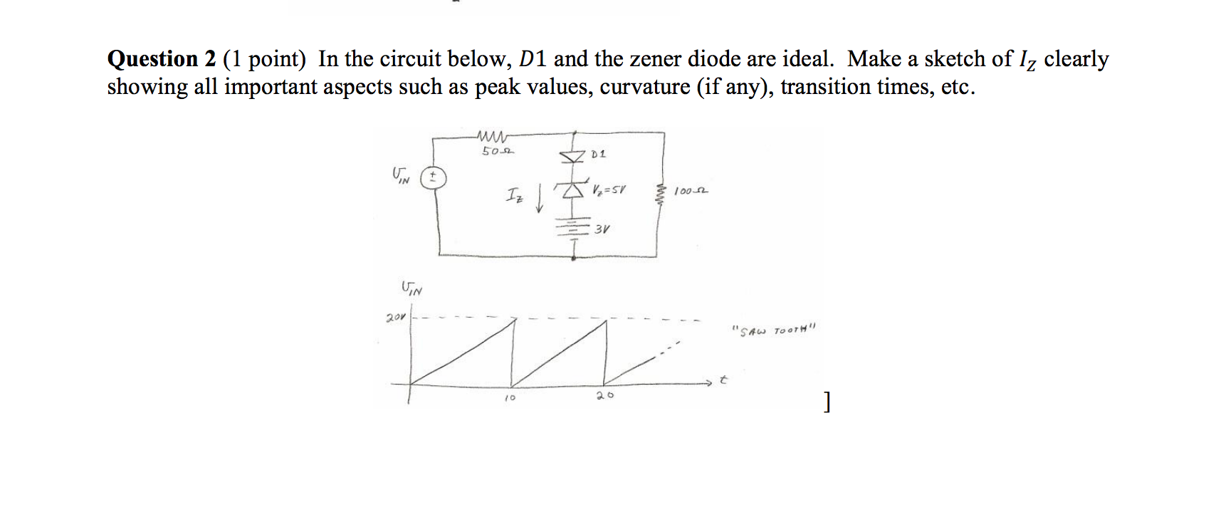 Solved In The Circuit Below D 1 And Zener Diode Are Circuits