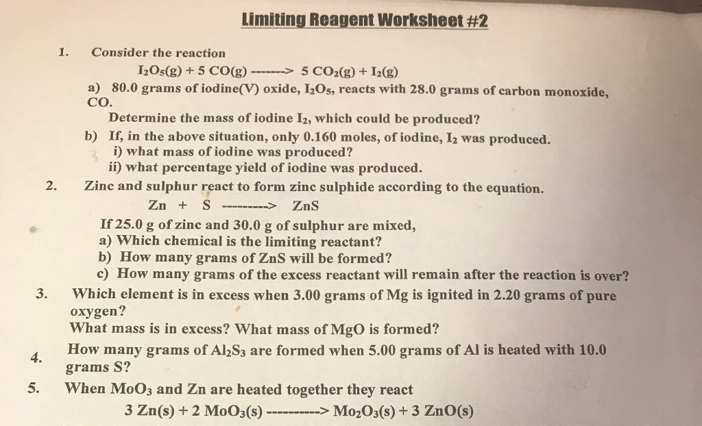 Solved: Limiting Reagent Worksheet #2 1. Consider The Reac ...