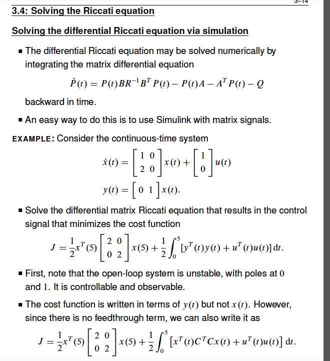 1  Solve The Algebraic Riccatti Equation For The E    | Chegg com