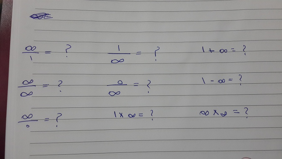 Solved: Infinity/1 = ? I/infin...