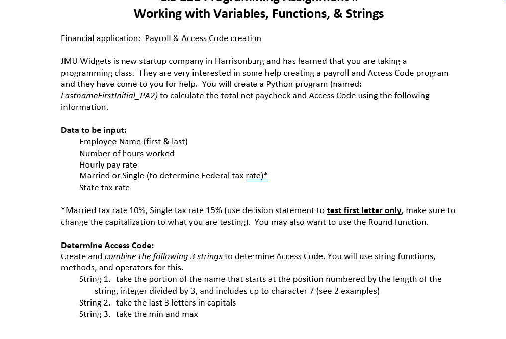 Solved: Working With Variables, Functions, & Strings Finan