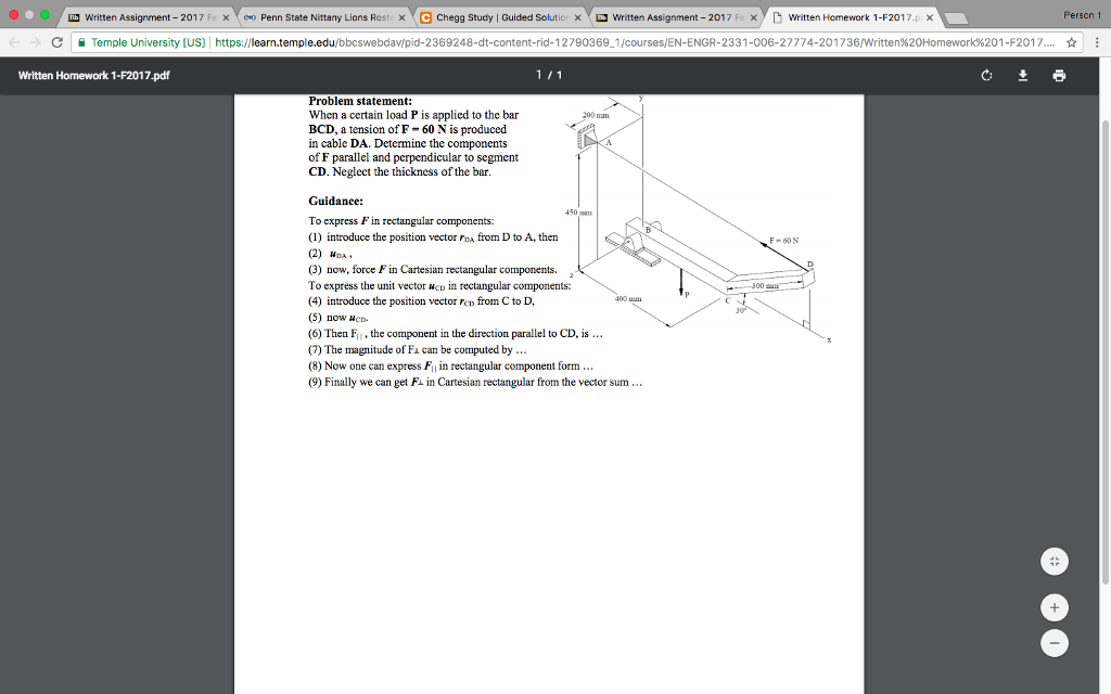 Solved: When A Certain Load P Is Applied To The Bar BCD, A