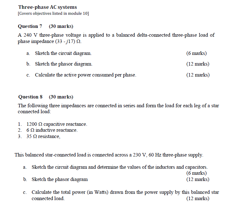 Solved: Three-phase AC Systems [Covers Objectives Listed I