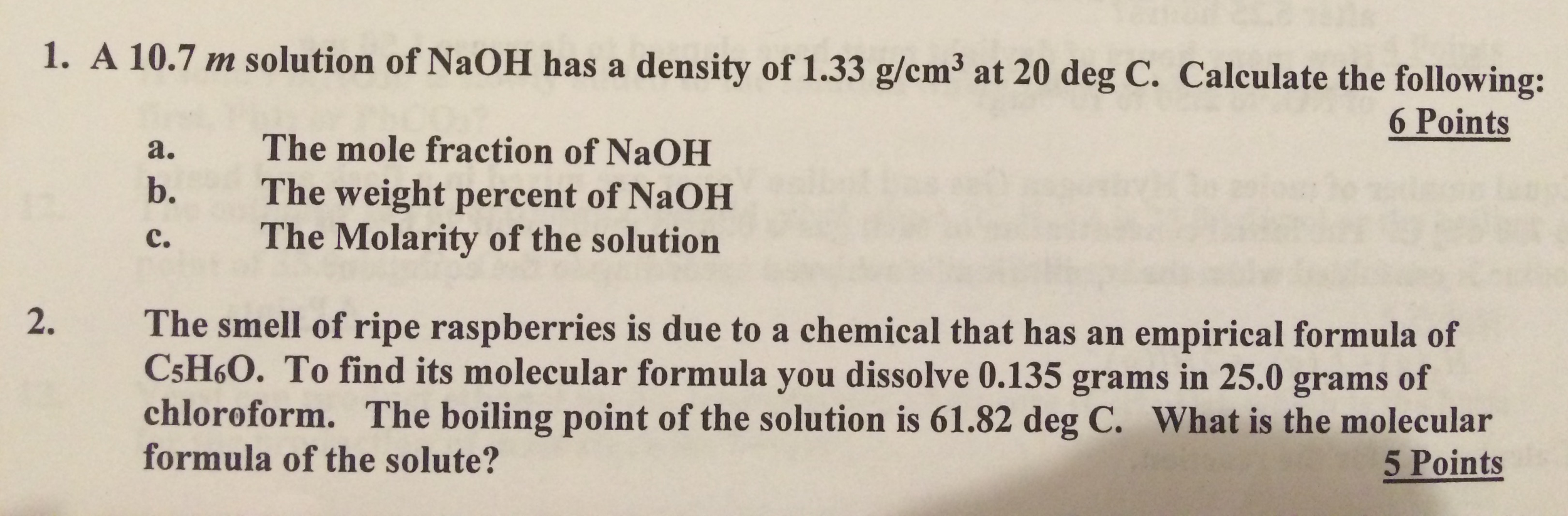 Solved: A 10 7 M Solution Of NaOH Has A Density Of 1 33 G