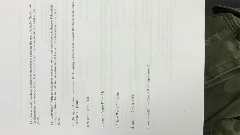 Solved General Math Write An Assignment Statement To Ca  General Math Write An Assignment Statement To Calculate The Area Of A