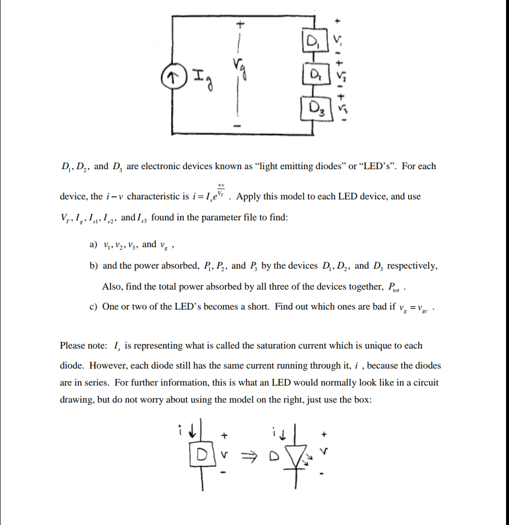 Solved D And D3 Are Electronic Devices Known As Li Lightemitting Diode Application Circuit Basiccircuit Light Emitting Diodes