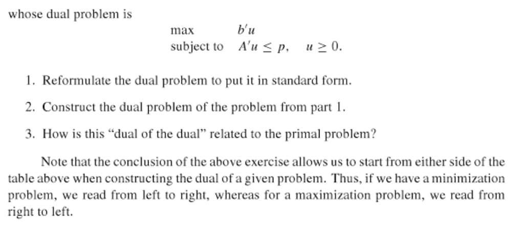 Solved Exercise 4 7 1 Consider The Standard Form Primal