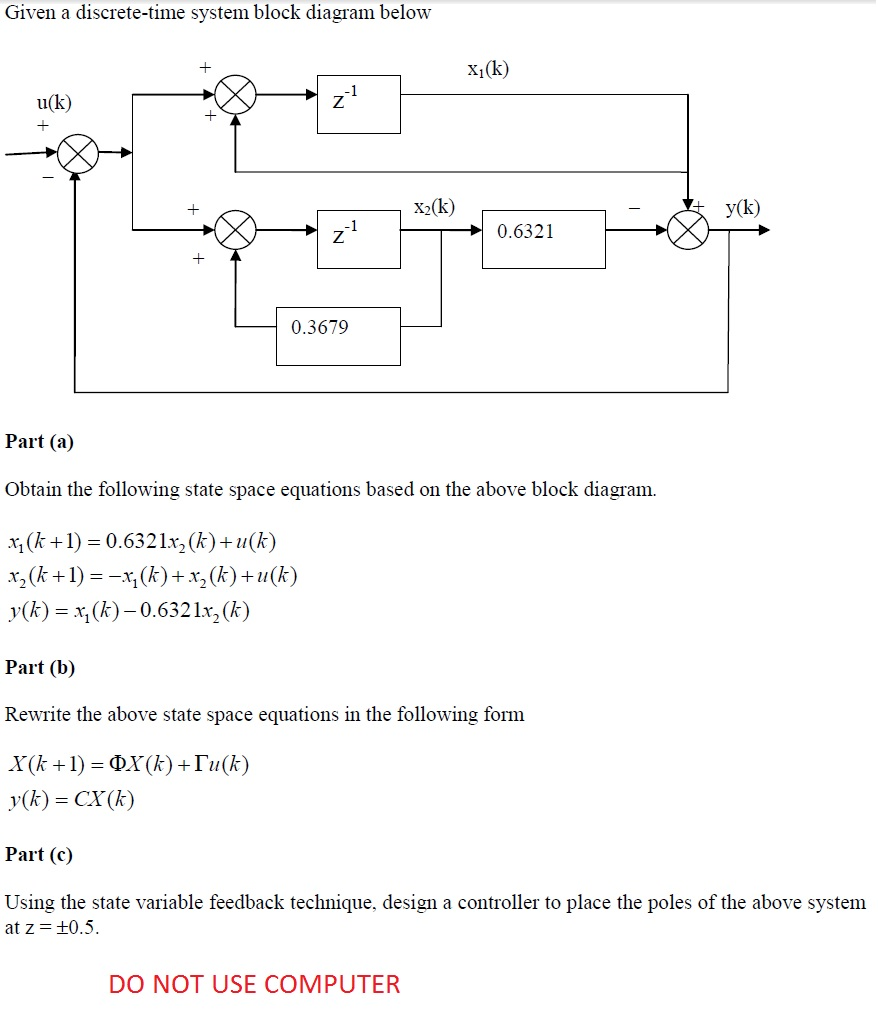 Question: Given a discrete-time system block diagram below Obtain the  following state space equations base.