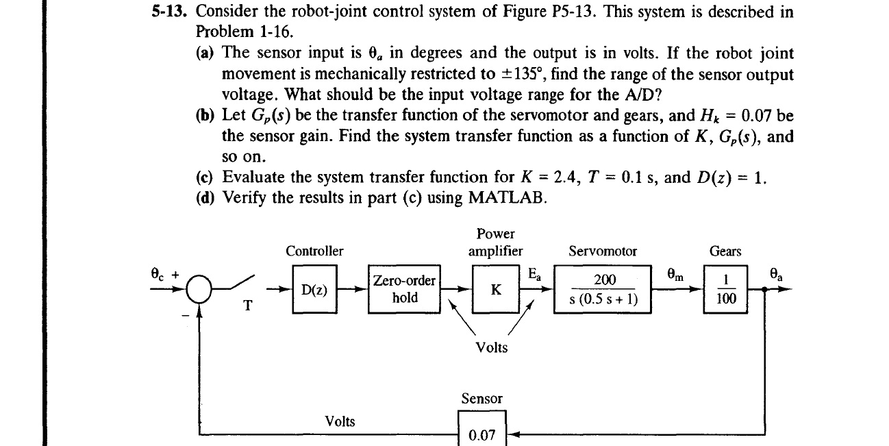 Consider the robot-joint control system of Figure