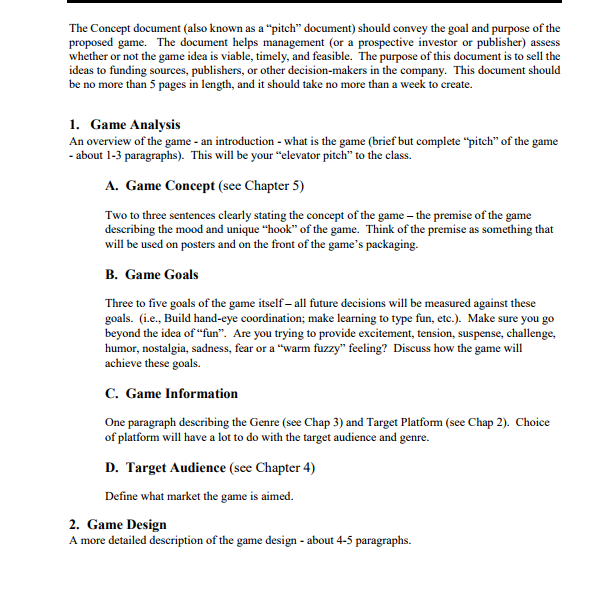 Your Assignment This Week Is The Midterm It Is To Cheggcom - Concept document game design