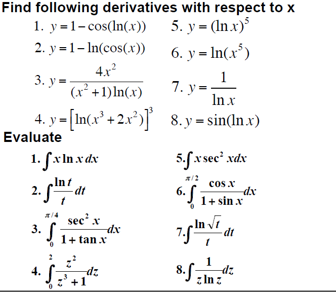 Find derivatives of functions in calculus.