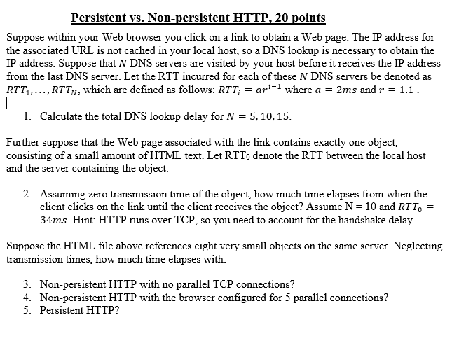 Solved: Persistent Vs  Non-persistent HTTP, 20 Points Supp