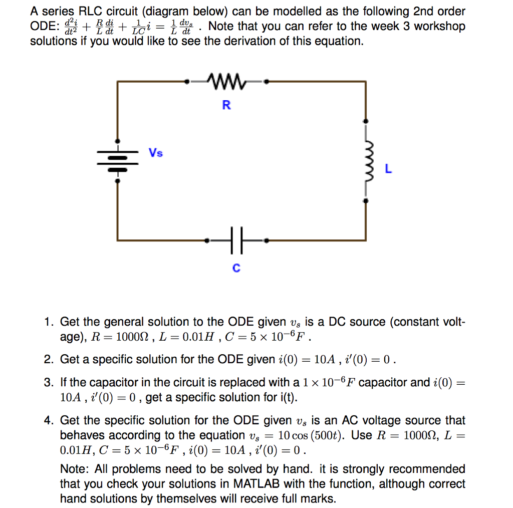solved a series rlc circuit diagram below can be modell rh chegg com Balancing Equations circuit diagram equations