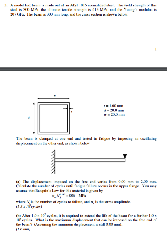 Solved: A Model Box Beam Is Made Out Of An AISI 1015 Norma