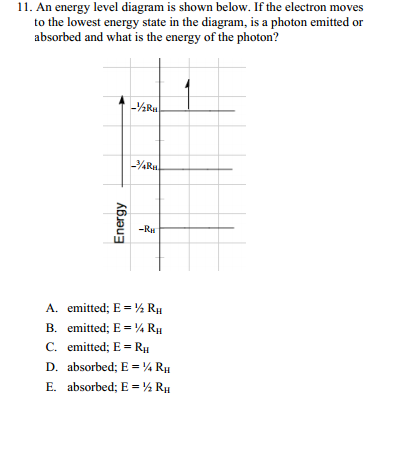 Solved 11 An Energy Level Diagram Is Shown Below If The