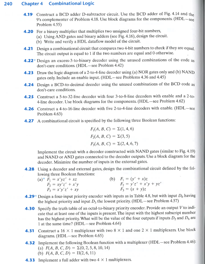 Solved 240 Chapter 4 Combinational Logic 419 Construct A Binary Subtractor Circuit Bcd Adder D Use