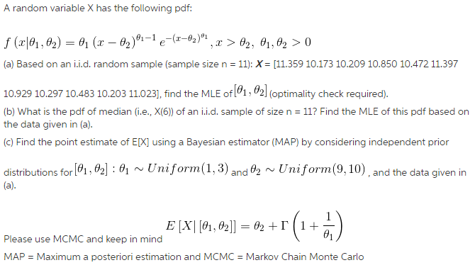 Any Information On How To Do MCMC With Matlab Or R    | Chegg com