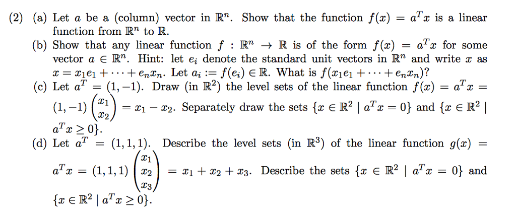 Solved 2 A Let A Be A Column Vector In R Show That