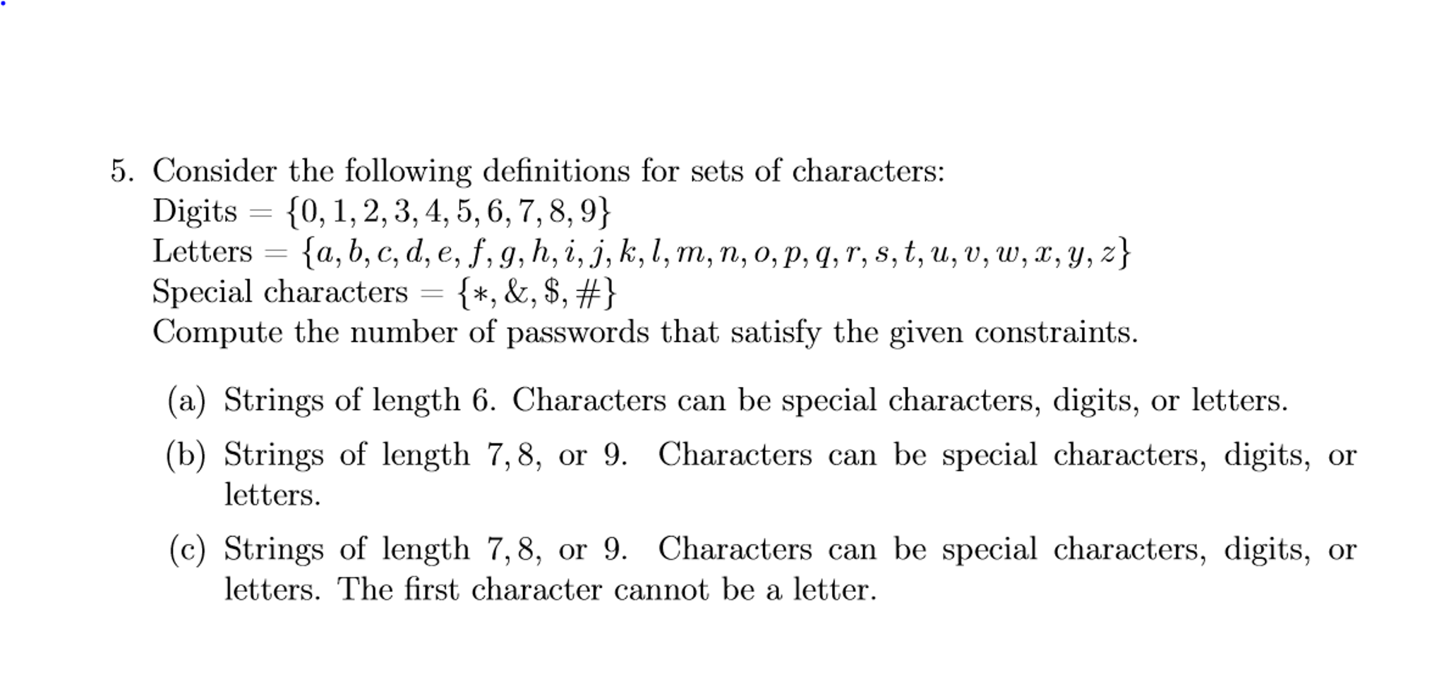 Solved Consider The Following Definitions For Sets Of Cha