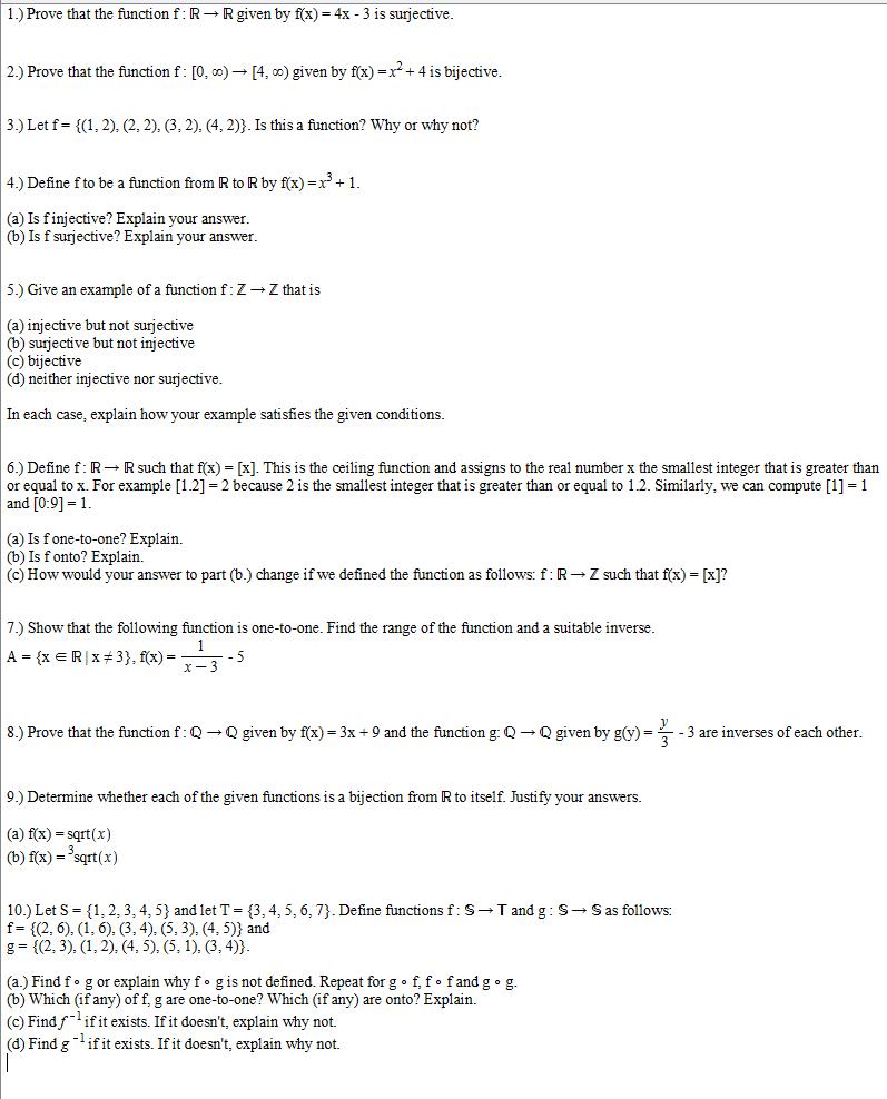 1) Find f(g(x)) and g(f(x) to show that f(x) and g(x) are inverses
