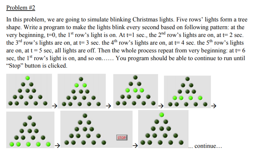 in this problem we are going to simulate blinking christmas lights five rows lights