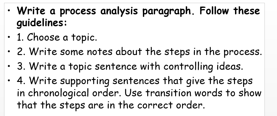 how to write steps in a paragraph