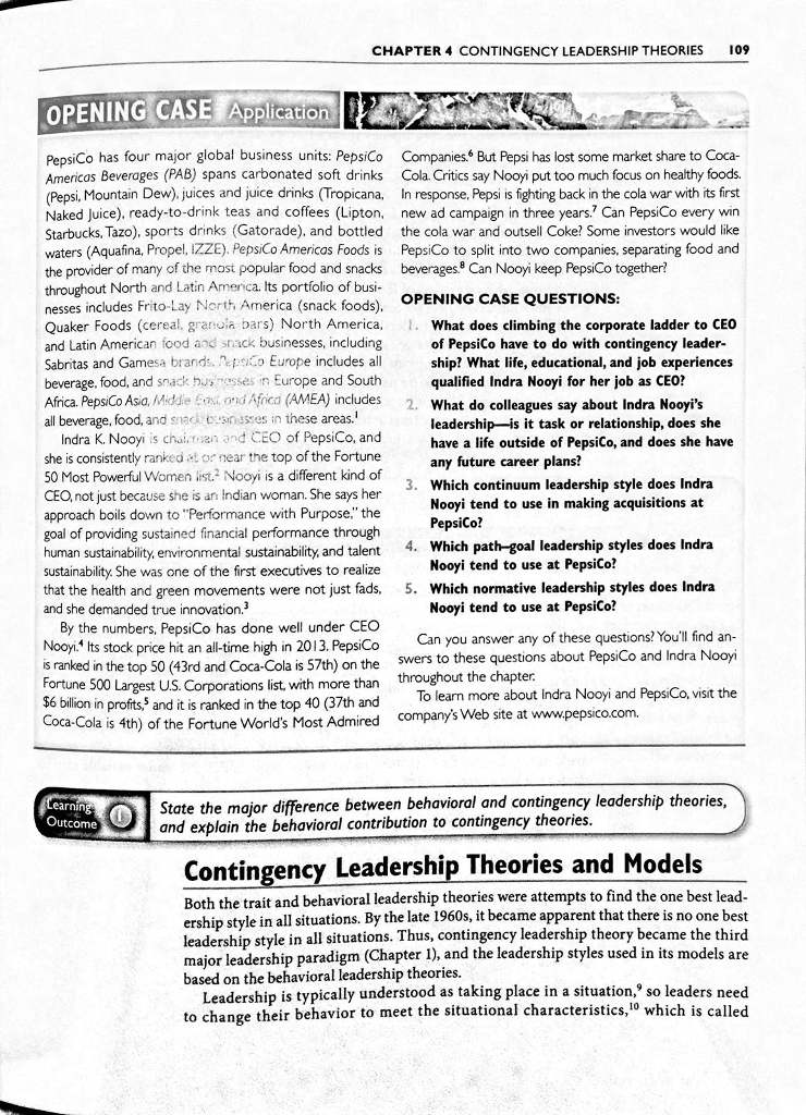 Solved: CHAPTER 4 CONTINGENCY LEADERSHIP THEORIES 109 OPEN