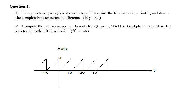 Question 1: 1. The periodic signal x(t) is shown below. Determine the fundamental period To and derive the complex Fourier series coefficients. (10 points) 2. Compute the Fourier series coefficients for x(t) using MATLAB and plot the double-sided spectra up to the 10th harmonic. (20 points) Ax (t) -10 10 20 30