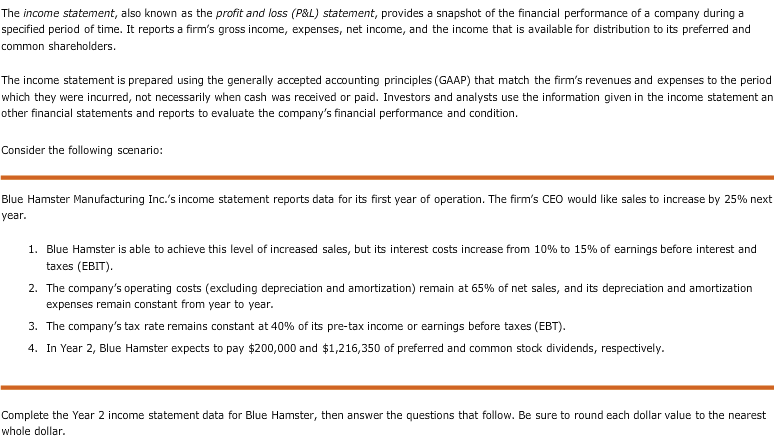 Solved: The Income Statement, Also Known As The Profit And ...