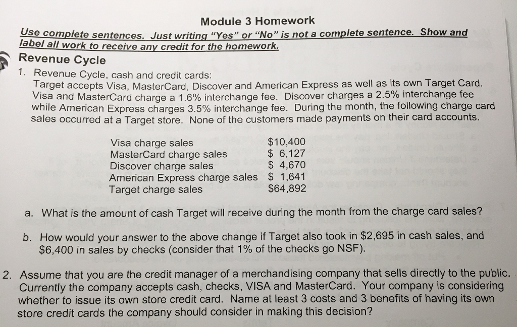 solved revenue cycle revenue cycle cash and credit cards