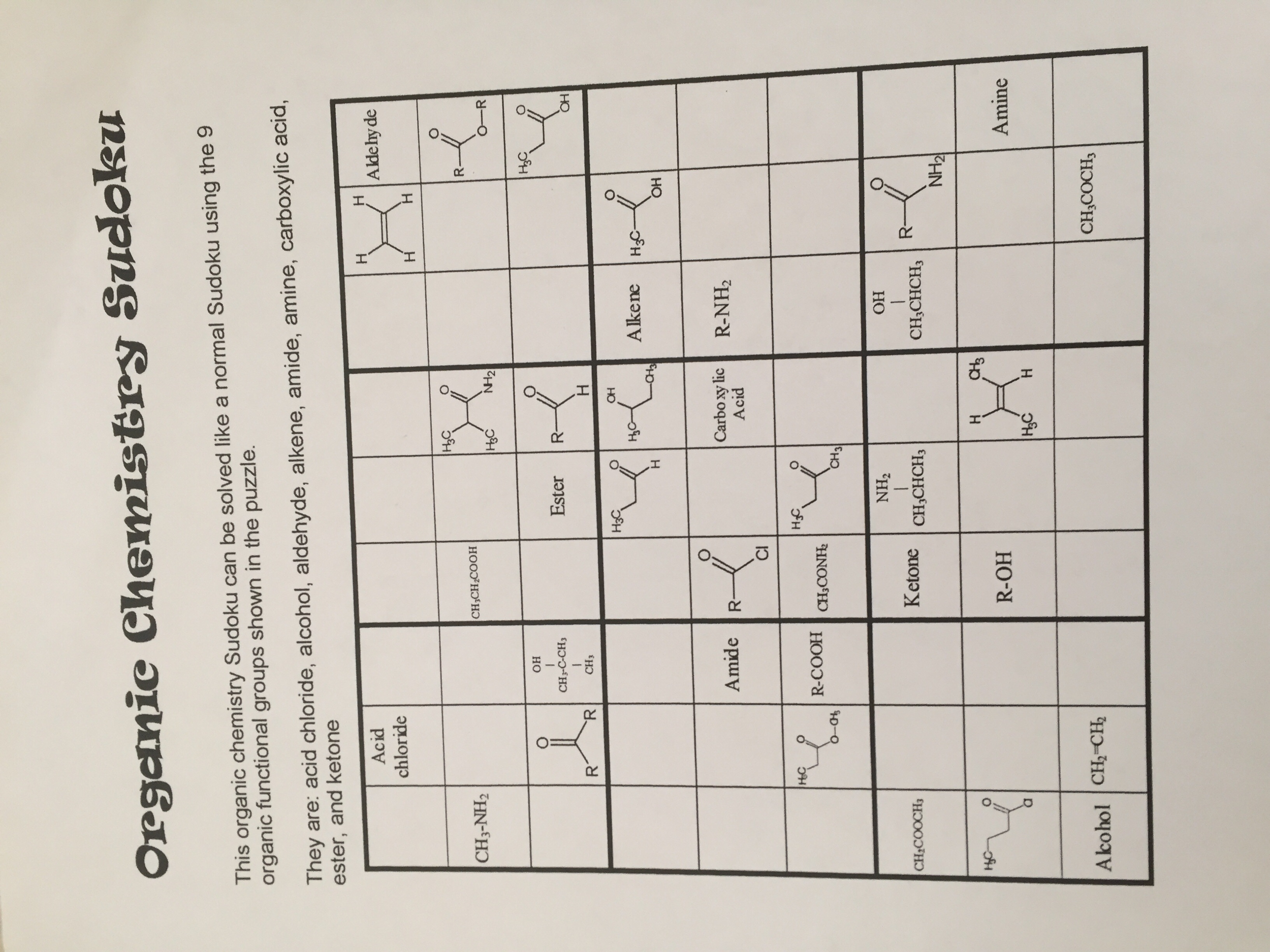 solved this organic chemistry sudoku can be solved like a