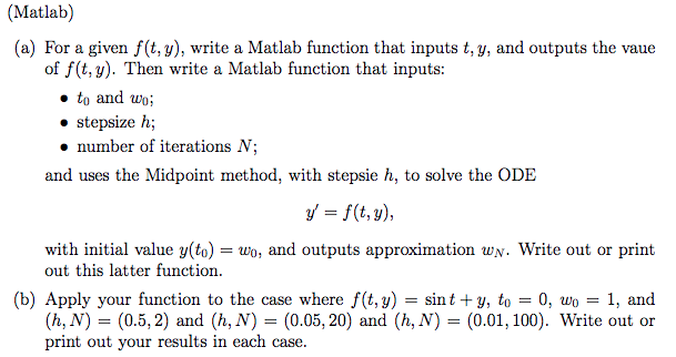 matlab a for a given f t y write a matlab f com  matlab a for a given f t y
