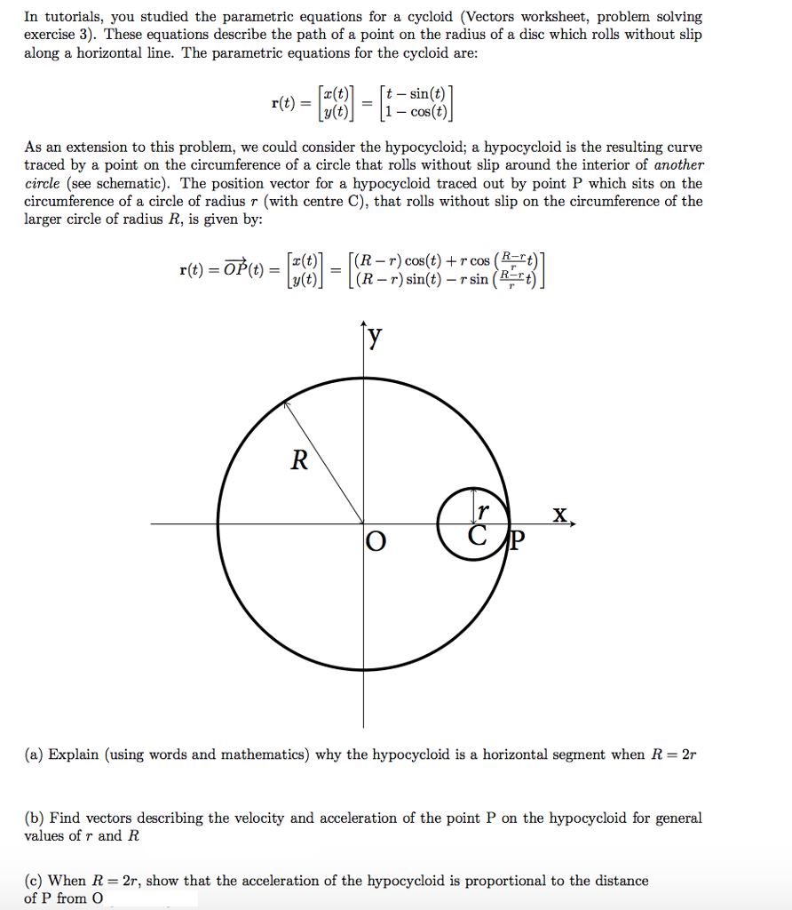 Worksheets Parametric Equations Worksheet in tutorials you studied the parametric equations chegg com for a cycloid vectors worksheet problem