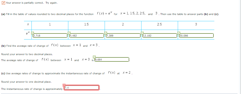 Question Fill In The Table Of Values Rounded To Two Decimal Places For Live Function Fx Ex For X 1