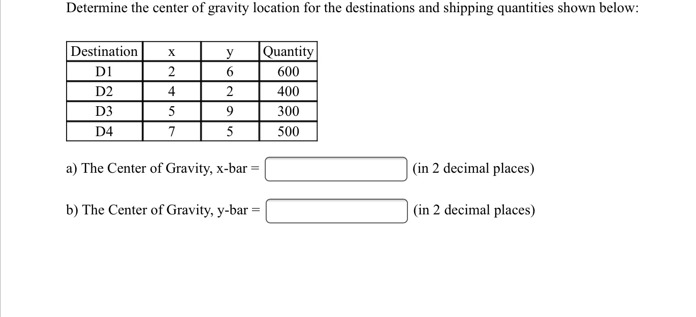 Solved Determine The Center Of Gravity Location For The D