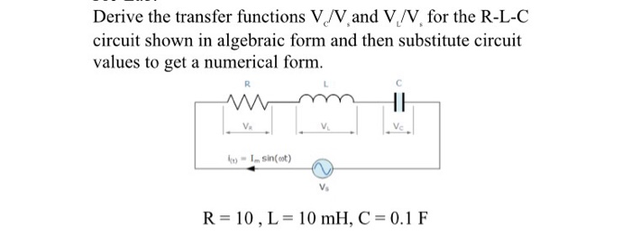 Derive the transfer functions Vo/V,and VLVV. for t