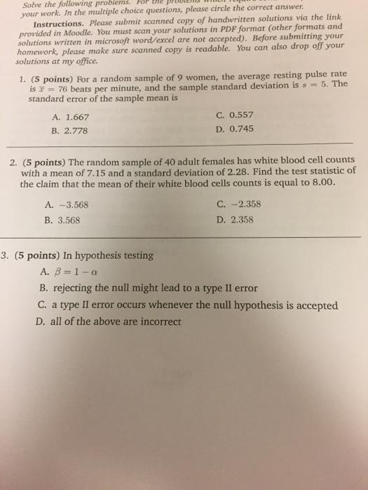 Solved: For A Random Sample Of 9 Women, The Average Restin