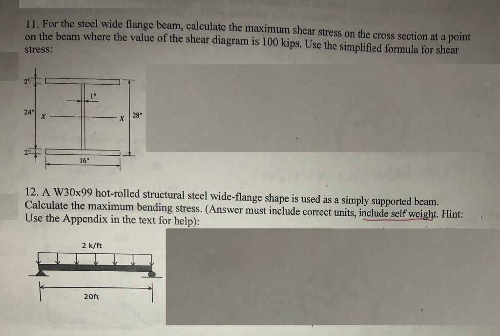 Solved: 11  For The Steel Wide Flange Beam, Calculate The