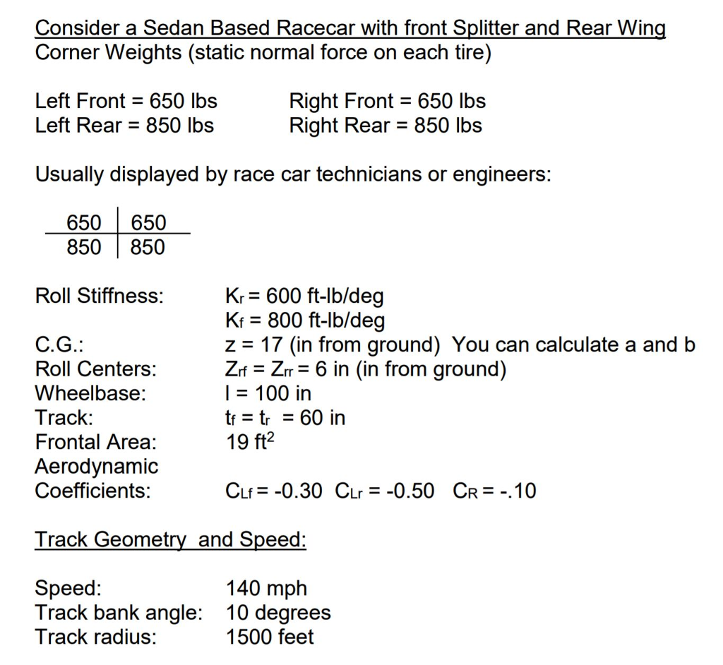 Solved: Calculate The Dynamic Wheel Loads For A Race Car O