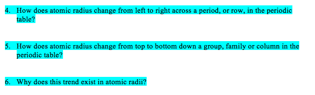 Solved how does atomic radius change from left to right a how does atomic radius change from left to right across a period or row urtaz Images