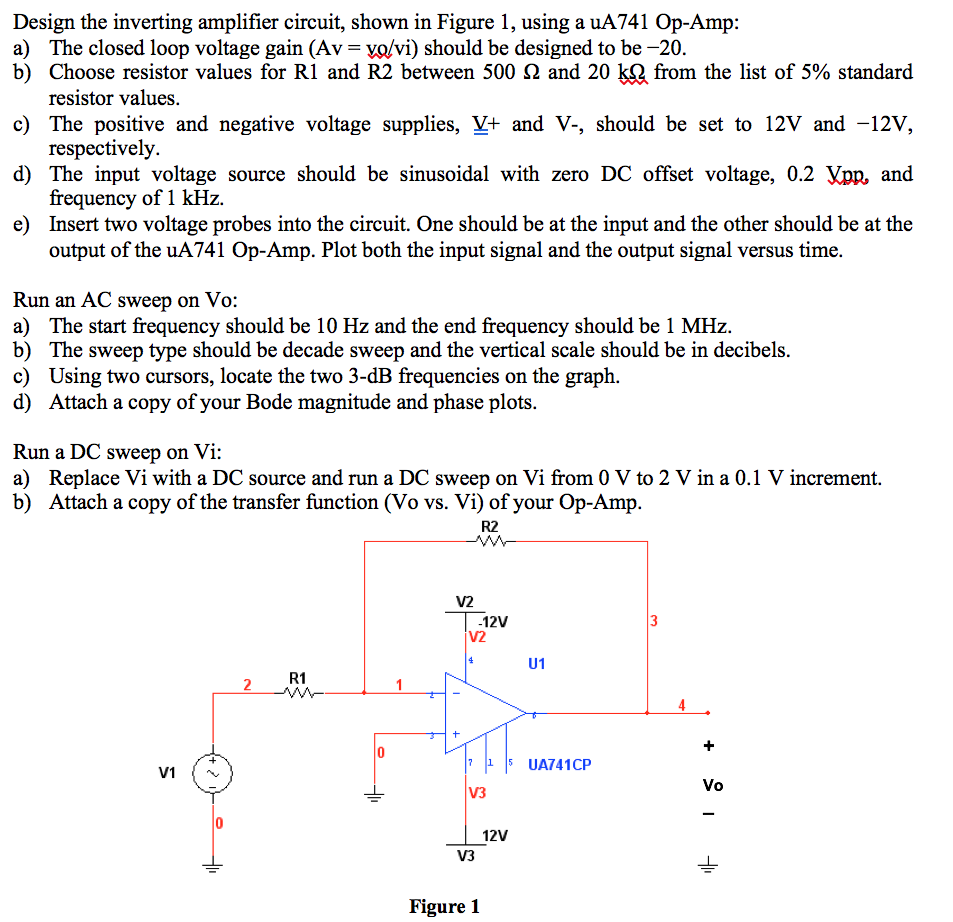Solved Design The Inverting Amplifier Circuit Shown In F Voltage Opamp Figure 1 Using A Ua741 Op