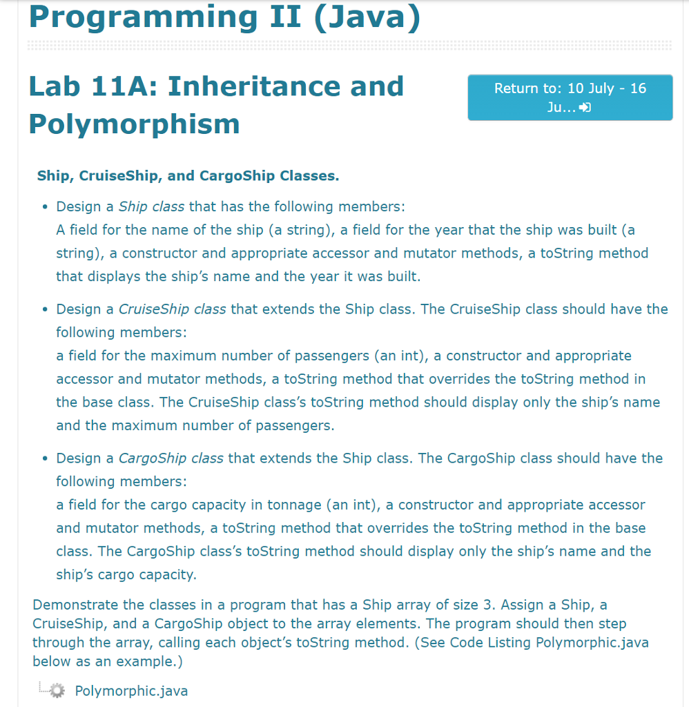Solved: Programming II (Java) Lab 11A: Inheritance And Pol