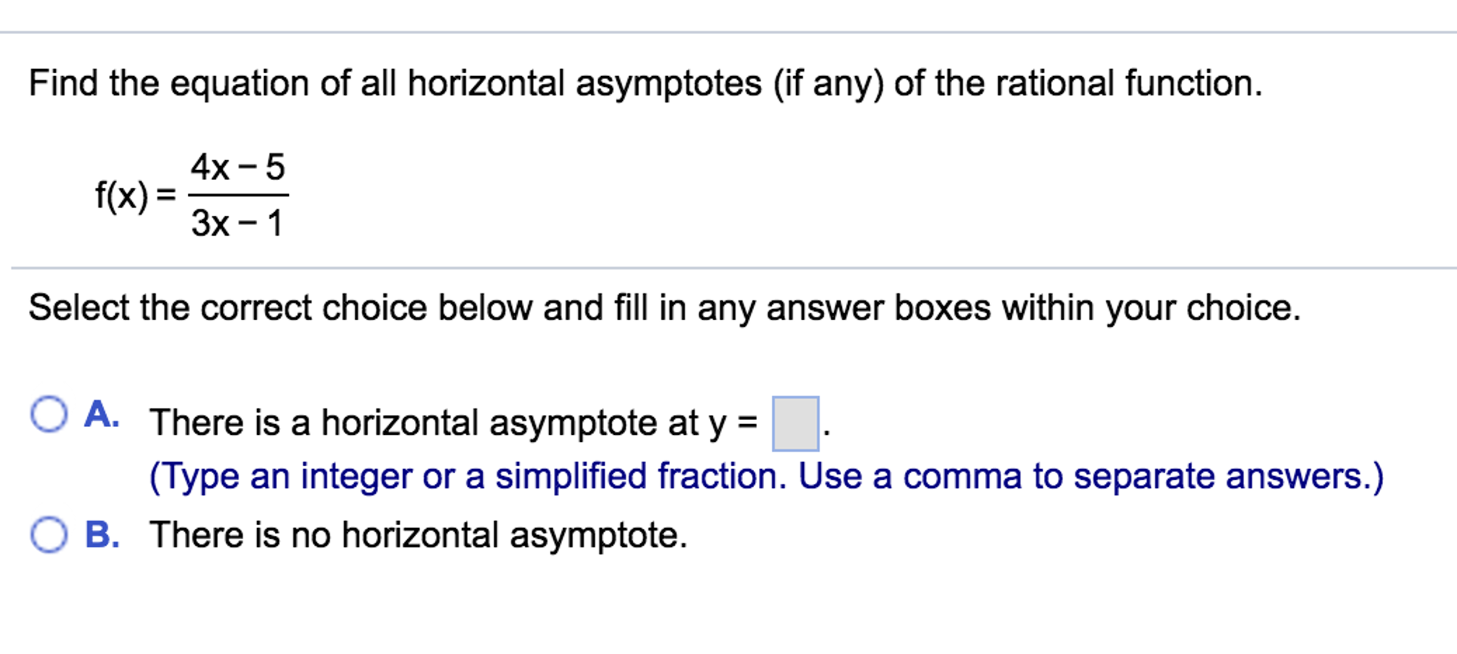solved: find the equation of all horizontal asymptotes (if